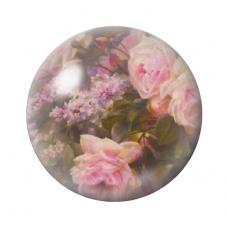 Cabochon en Verre Illustré Fleur Rose 12 à 25mm