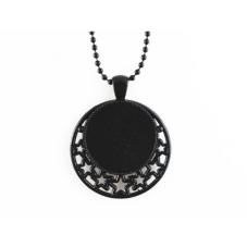Support Collier Chaîne à Bille Noir 65cm pour Cabochon 25mm pour la Création de Bijoux Fantaisie - DIY