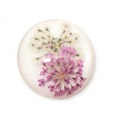 Cabochon en Résine Véritables Fleurs Séchées 25mm pour la Création de Bijoux Fantaisie - DIY