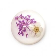 Cabochon en Résine Véritables Fleurs Séchées 20mm pour la Création de Bijoux Fantaisie - DIY