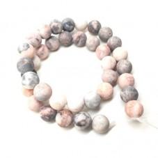 4 Perles Pierre Naturelle Jaspe Zébré Rose Mat 10mm pour la Création de Bijoux Fantaisie - DIY