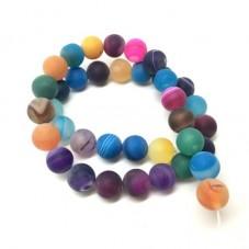 4 Perles Pierre Naturelle Agathe Mat 10mm pour la Création de Bijoux Fantaisie - DIY