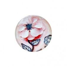 Cabochon en Verre Illustré Fleur 20mm