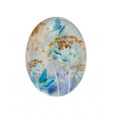 Cabochon en Verre Illustré Fleurs Bleues 30x40mm