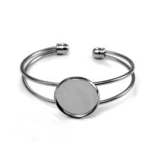 Support Bracelet Argenté Ajustable pour Cabochon 20mm