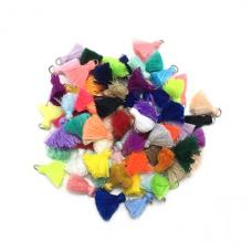 10 Breloques Pompons en Coton Multicolore 20mm pour la Création de Bijoux Fantaisie - DIY