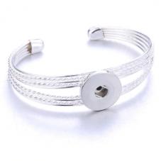 Support Bracelet Ajustable en Métal pour Bouton Snap 18mm
