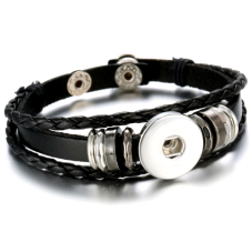 Support Bracelet Ajustable en Cuir pour Bouton Snap 18mm