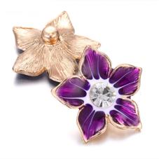 Bouton Snap Fleur Violette Métal Doré 18mm