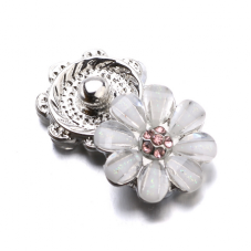 Bouton Pression Fleur Strass Paillette 12mm