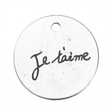 """4 Breloques Médaille Gravée """"Je t'aime"""" Argenté 20mm pour la Création de Bijoux Fantaisie - DIY"""