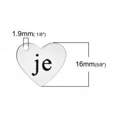 """Breloque Coeur Gravé """"Je"""" en Acier Inoxydable 18x16mm"""