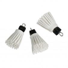 2 Breloques Pompons en Suédine Blanc avec Perle Noire 24mm pour la Création de Bijoux Fantaisie - DIY