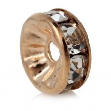 5 Perles Intercalaires en Métal Doré avec Strass 8mm pour la Création de Bijoux Fantaisie - DIY