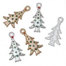 10 Breloques Sapin de Noël Emaillé Doré et Argenté 26x14mm pour la Création de Bijoux Fantaisie - DIY