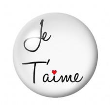 """Cabochon en Verre Illustré """"Je t'aime"""" 12 à 25mm"""