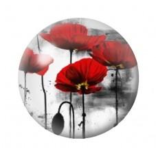 Cabochon en Verre Illustré Fleurs Coquelicots 12 à 25mm