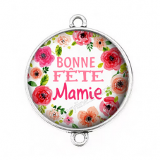 """Connecteur Cabochon en Résine """"Bonne Fête Mamie"""" 25mm"""