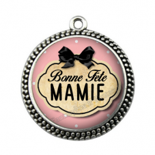 """Pendentif Cabochon en Résine """"Bonne Fête Mamie"""" 25mm"""