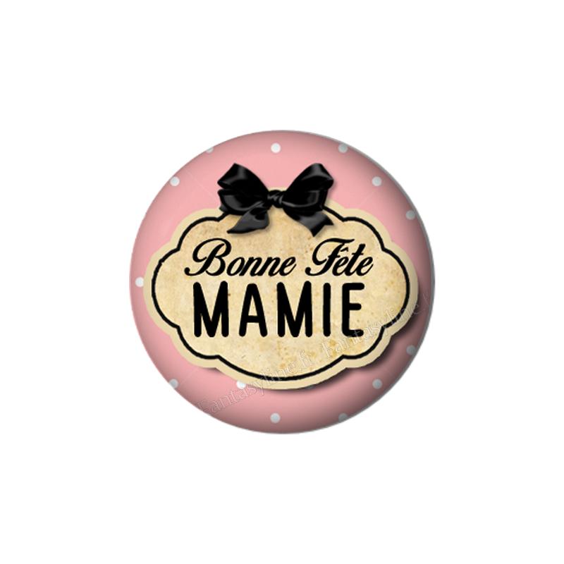 """Cabochon en Résine à Coller """"Bonne Fête Mamie"""" 25mm"""