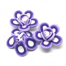 4 Perles Fleurs en Pâte Polymère Fimo 26mm pour la Création de Bijoux Fantaisie - DIY