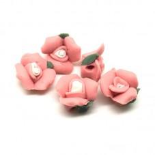 5 Perles Fleurs en Pâte Polymère Fimo 13mm pour la Création de Bijoux Fantaisie - DIY