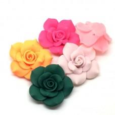 4 Grandes Perles Fleurs en Pâte Polymère Fimo 40mm pour la Création de Bijoux Fantaisie - DIY