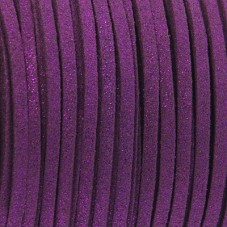 1 Mètre de Cordon Suédine Pailleté Violet 3mm pour la Création de Bijoux Fantaisie - DIY