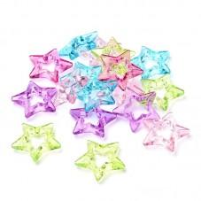 5 Grandes Perles Étoiles en Acrylique 35mm pour la Création de Bijoux Fantaisie - DIY