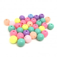 100 Perles Rondes Multicolores en Acrylique 8mm pour la Création de Bijoux Fantaisie - DIY