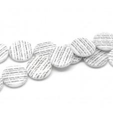 5 Perles Palet en Nacre Motif Écriture 20mm pour la Création de Bijoux Fantaisie - DIY