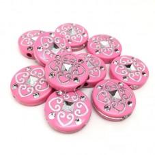 10 Perles en Acrylique Rose et Argenté 18mm pour la Création de Bijoux Fantaisie - DIY