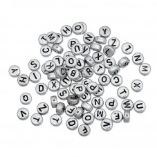 50 Perles Alphabet en Acrylique 7mm pour la Création de Bijoux Fantaisie - DIY