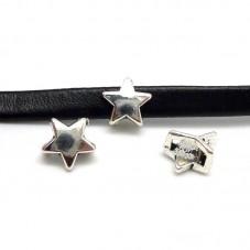 2 Perles Glissière Passant Étoile Argentée Pour Cordon Plat 6mm pour la Création de Bijoux Fantaisie - DIY