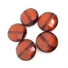 10 Perles Rondes à Facette en Acrylique Chocolat 20mm pour la Création de Bijoux Fantaisie - DIY