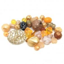20 Perles Mixtes en Acrylique Orangé 5-28mm pour la Création de Bijoux Fantaisie - DIY
