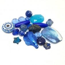 20 Perles Mixtes en Acrylique Bleu 5-28mm pour la Création de Bijoux Fantaisie - DIY