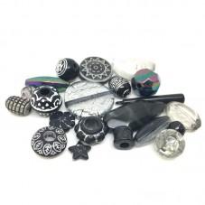 20 Perles Mixtes en Acrylique Noir 5-28mm pour la Création de Bijoux Fantaisie - DIY