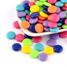 10 Perles en Acrylique Rondes Plates Multicolore 14mm pour la Création de Bijoux Fantaisie - DIY