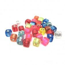 15 Perles Cube en Acrylique Multicolore 8mm pour la Création de Bijoux Fantaisie - DIY