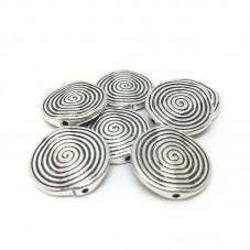 4 Perles en Métal Rondes Plates Spirale Argentées 18mm pour la Création de Bijoux Fantaisie - DIY