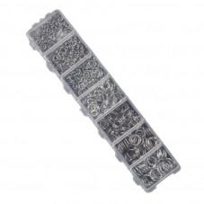 Boite de 1500 Anneaux Ouverts Platine Mixte 3-8mm pour la Création de Bijoux Fantaisie - DIY
