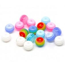 10 Perles Rondes Rayées Multicolores en Résine 8mm pour la Création de Bijoux Fantaisie - DIY