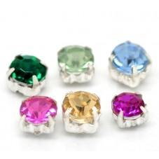 20 Mini Perles Strass Carrées Multicolore 5mm pour la Création de Bijoux Fantaisie - DIY