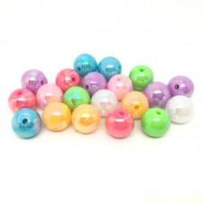 20 Perles Multicolores Rondes Brillantes en Acrylique 12mm pour la Création de Bijoux Fantaisie - DIY