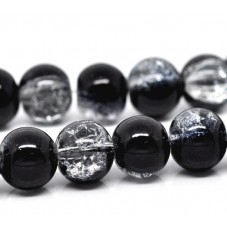 10 Perles en Verre Noir Pailleté Feuille d'Argent 10mm pour la Création de Bijoux Fantaisie - DIY