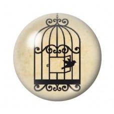 Cabochon en Verre Illustré Cage Oiseau Silhouette 12 à 25mm pour la Création de Bijoux Fantaisie - DIY