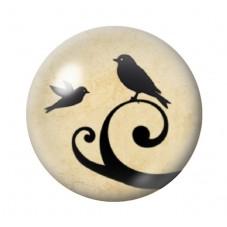 Cabochon en Verre Illustré Oiseau Silhouette 12 à 25mm pour la Création de Bijoux Fantaisie - DIY