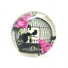 Cabochons en Verre Illustré Cage Oiseau Silhouette 25mm pour la Création de Bijoux Fantaisie - DIY