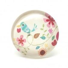 Cabochons en Verre Illustré Oiseau Fleurs Vintage 25mm pour la Création de Bijoux Fantaisie - DIY